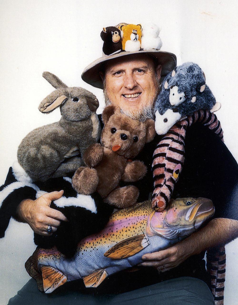 David Stokes and stuffed animal friends